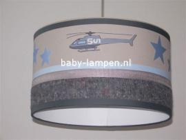 Stoere lamp babykamer helicopter grijs en lichtblauw