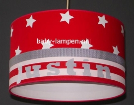lamp babykamer Justin rood met witte sterren