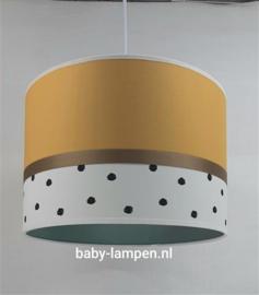 lamp babykamer okergeel zwarte stip en oudgroen