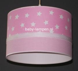 Babylamp roze sterren en ruitjes