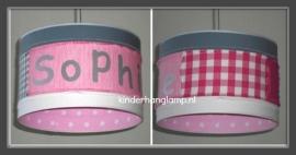 Stoere meisjeslamp roze en grijs Sophie