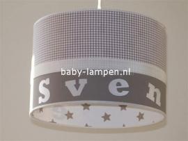 Jongenslamp Sven beige ruit en sterren binnenkant