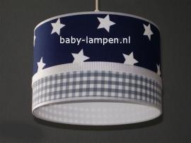 lamp babykamer donkerblauwe ster en grijze ruit