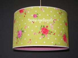 Babylamp lime groen met fucsia rosen en ruiten