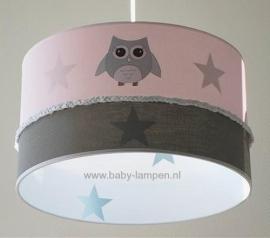 Babylamp roze drie keer uiltje en stone green sterren binnenkant