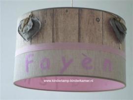 Babylamp Fayen steigerhout roze en harten
