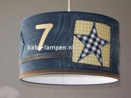 Stoere lamp babykamer spijkerbroek en geel ruitje