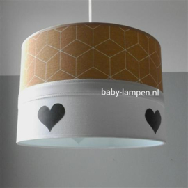 babylamp okergeel zwarte hartjes en mint binnenkant