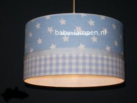 Babylamp lichtblauwe sterren en ruitjes en stipjes binnenkant