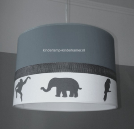 babylamp antraciet  silhouet jungle diertjes