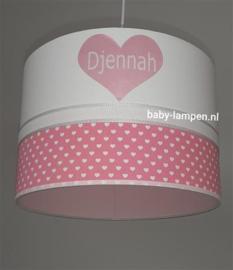 Hanglamp roze witte hartjes