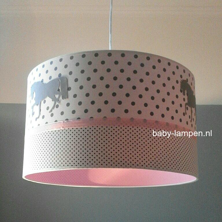 Lamp met paarden roze grijs