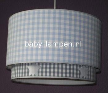 lamp babykamer lichtblauwe ruit en grijze ruit met sterren