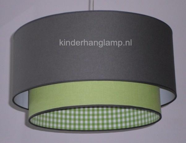 lamp babykamer antraciet effen lime groen en lime ruitje