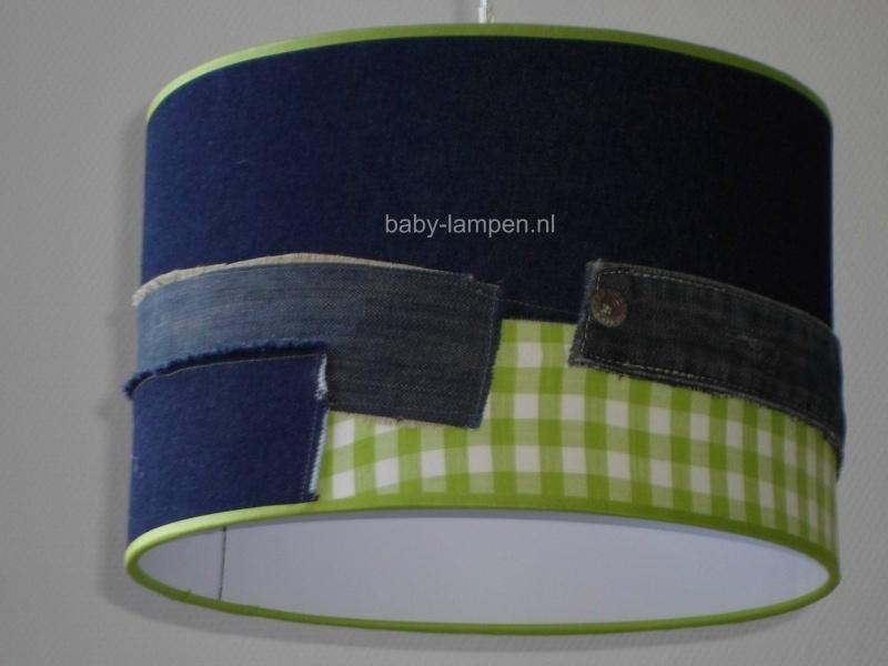 Jongenslamp spijkerstof met lime groen ruitje