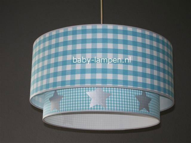 lamp babykamer aqua ruit aqua ruitje en zilveren sterren