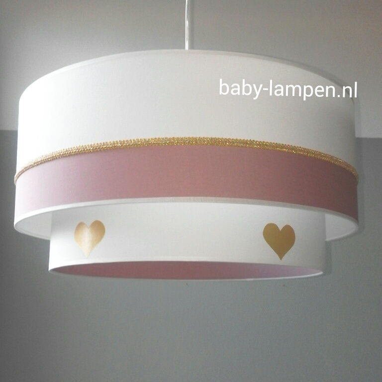 Babylampen oud roze goud wit