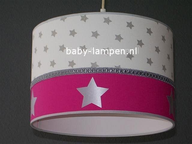 Babylamp zilveren sterren effen fucsia