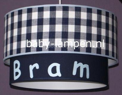 lamp babykamer Bram donkerblauwe ruit