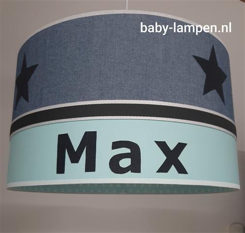 Hanglamp babykamer mint groen antraciet en spijkerstof