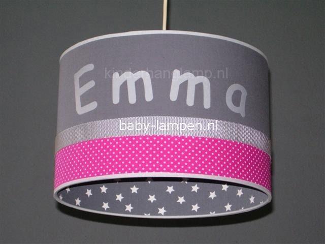 Meisjeslamp Emma antraciet en fucsia stipjes sterretje binnenkant