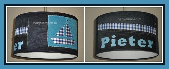 Lamp babykamer met spijkerstof en blauw bootje
