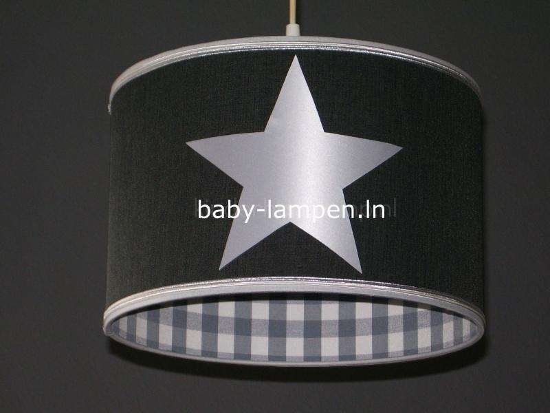 Babylamp antraciet met 3x zilveren ster