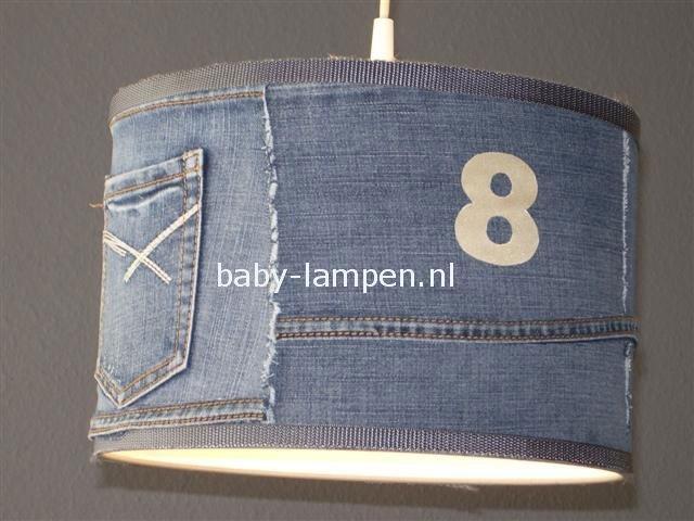 Stoere lamp babykamer spijkerstof