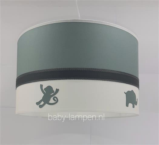 babylamp oudgroen silhouet jungle diertjes