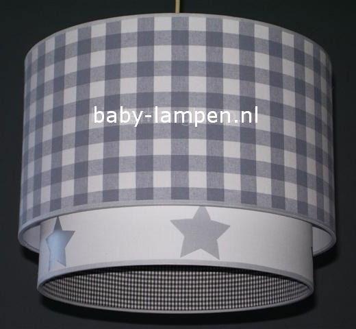 lamp babykamer ruit  wit zilveren sterren