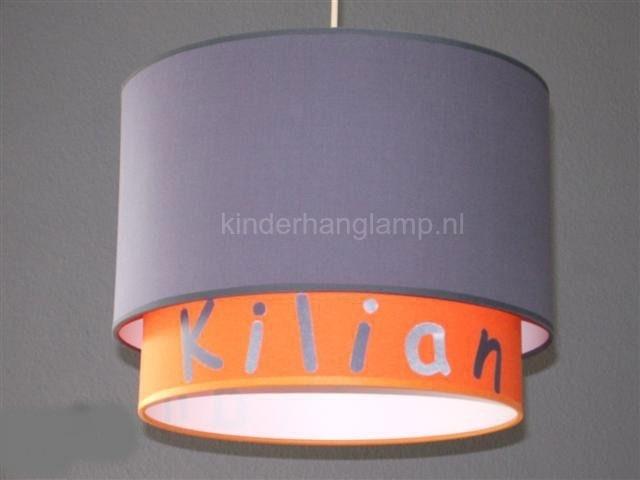 lamp babykamer Binnenkap effen oranje met zilveren naam