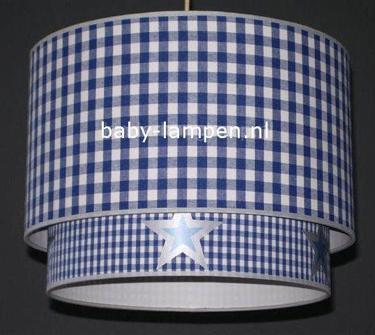 lamp babykamer kobalt blauwe ruit kobalt blauwe mini ruit met zilveren sterren