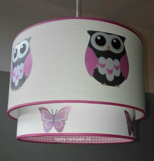 lamp babykamer groen ruitje uil en vlinders