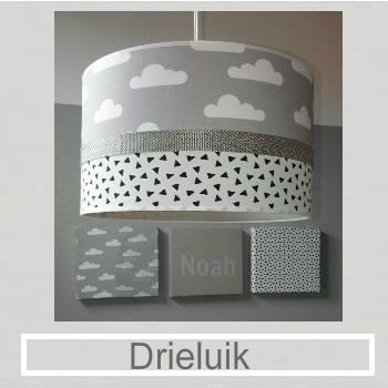 Babykamer Drieluik in dezelfde stoffen als hanglamp