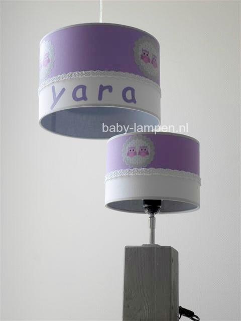 Babylamp Yara paars met drie keer uiltjes en grijze stof aan de binnenkant