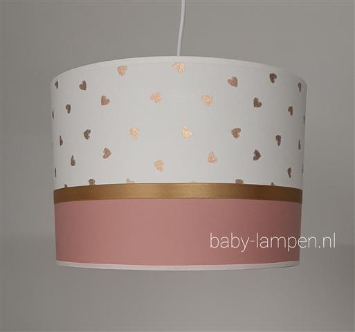 lamp babykamer oud roze en gouden hartjes