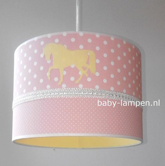 Lamp babykamer oudroze en geel paardjes