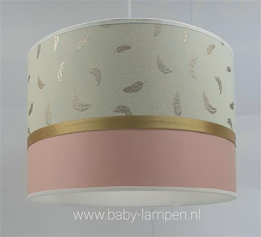hanglamp gouden veertjes en oudroze