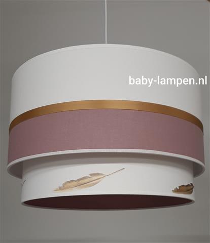babylampen oudroze met gouden veertjes
