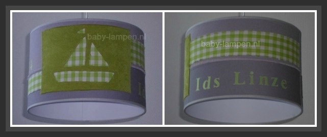 lamp babykamer met grijze spijkerstof en lime groen ruitje