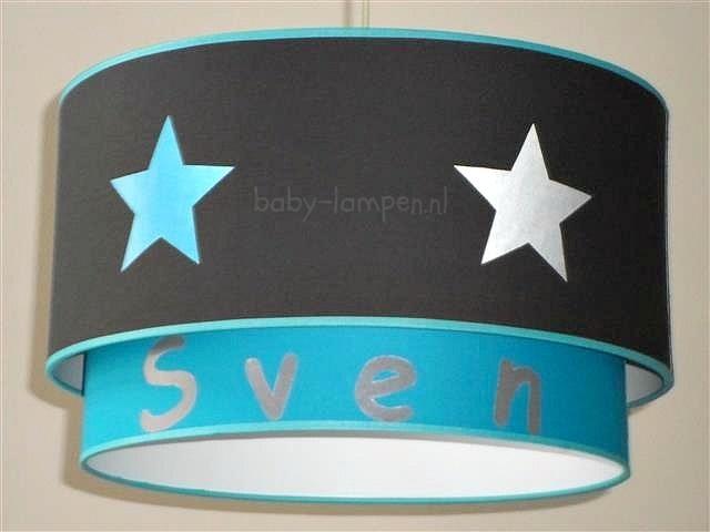 lamp babykamer antraciet aqua sterren en effen antraciet met naam