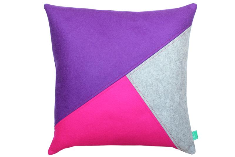 Cushion wool felt purple