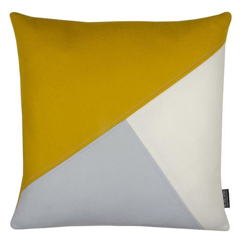 Cushion wool felt combi mustard yellow