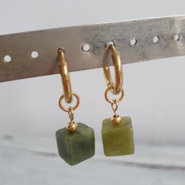 Oorbellen olijfgroen goud