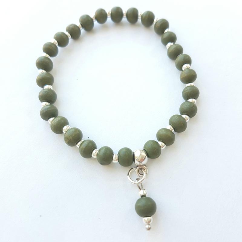 Armbandje groen zilver