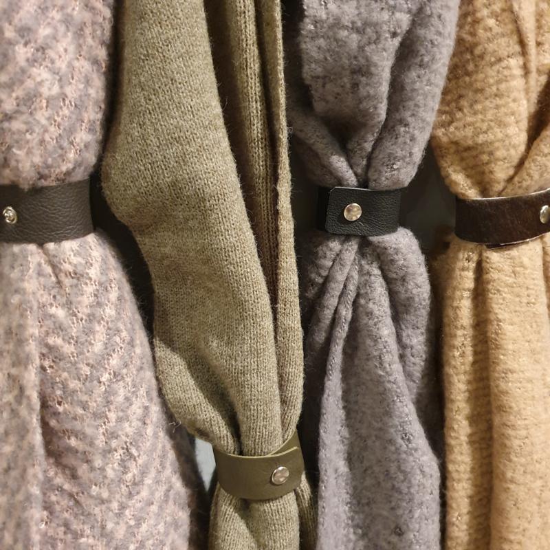 Leren sjaal bandje bruin