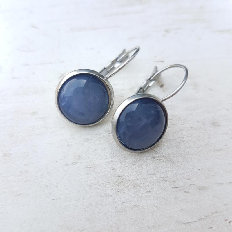 Oorbellen stainless steel blauw