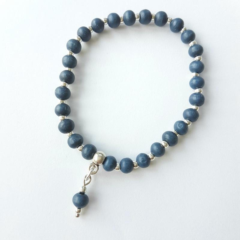 Armbandje blauw-zilver
