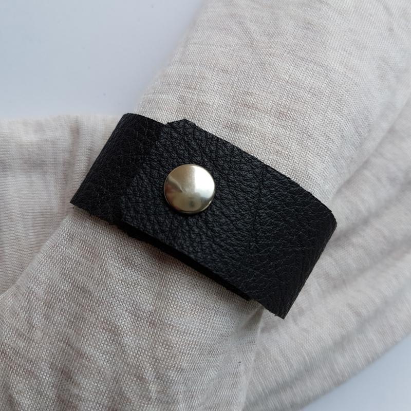 Leren sjaal bandje zwart - scarvelet