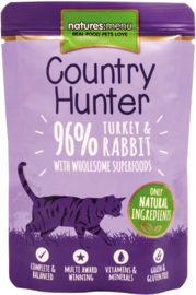 Natures Menu Cat Country Hunter Pouch Turkey & Rabbit -  6x 85 gr